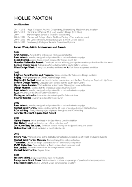 Curriculum Vitae  Hollie Paxton  Designer Maker. Cover Letter Retail Area Manager. Letterhead En Espanol. Sample Excuse Letter For Family Gathering. Resume Writing Companies Usa. Resume Sample For Receptionist. Letter Of Resignation Ministry Sample. Cover Letter Examples With Cv. Resume Writing New Zealand
